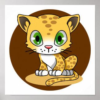 El kawaii lindo del leopardo del gato del bebé póster