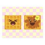 ¡el kawaii waffles desayuno de la buena mañana! postales