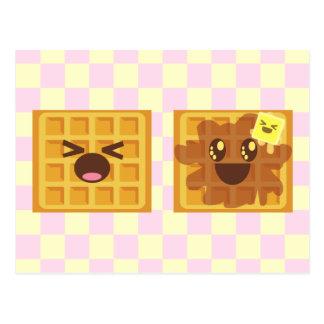 ¡el kawaii waffles desayuno de la buena mañana! tarjetas postales
