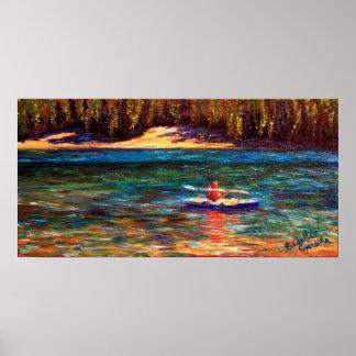 El Kayaker del lago Poster