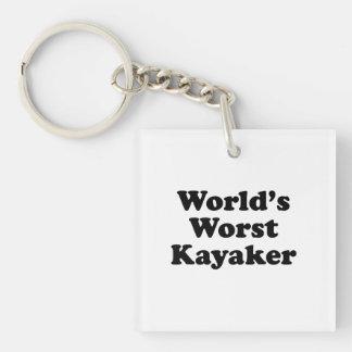 El Kayaker peor del mundo Llavero Cuadrado Acrílico A Una Cara