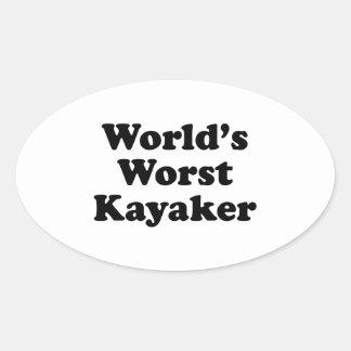 El Kayaker peor del mundo Pegatina Ovalada