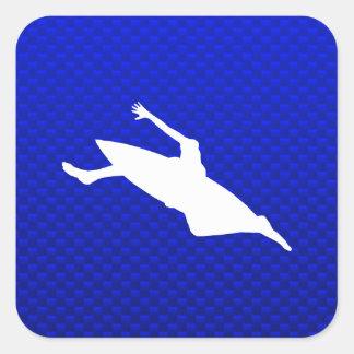 El Kayaking azul Calcomania Cuadradas Personalizada