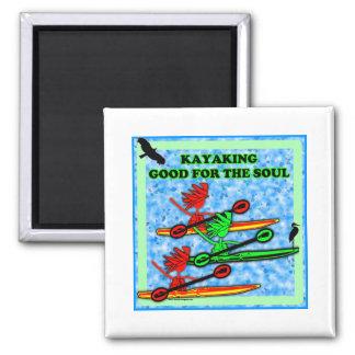 El Kayaking bueno para el alma Imán Cuadrado