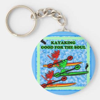 El Kayaking bueno para el alma Llavero Redondo Tipo Pin