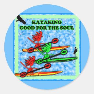 El Kayaking bueno para el alma Pegatinas Redondas