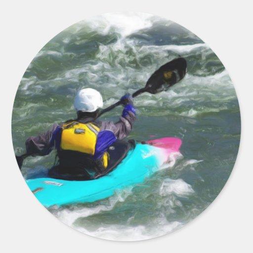El Kayaking en el río Pegatina Redonda