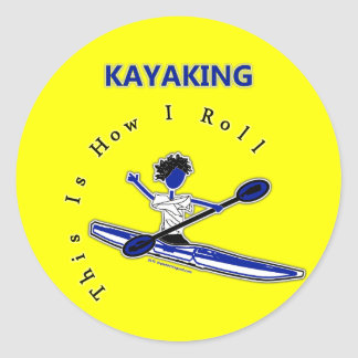 El Kayaking esto es cómo ruedo Pegatina Redonda