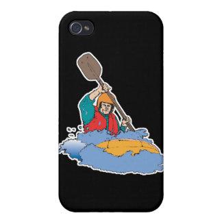 el kayaking transportando el gráfico en balsa iPhone 4 carcasas