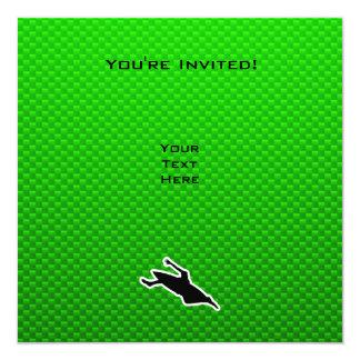 El Kayaking verde Invitación 13,3 Cm X 13,3cm