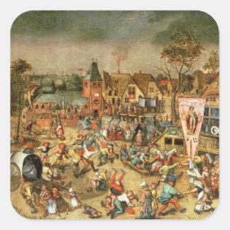 El Kermesse del banquete de San Jorge Calcomanía Cuadrada