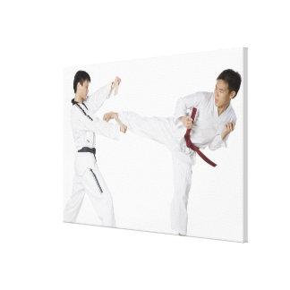 El kickboxing practicante del mediados de hombre a lienzo envuelto para galerías
