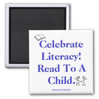 ¡el kids_EPS, lee, celebra la instrucción!  Leído  Imán Cuadrado