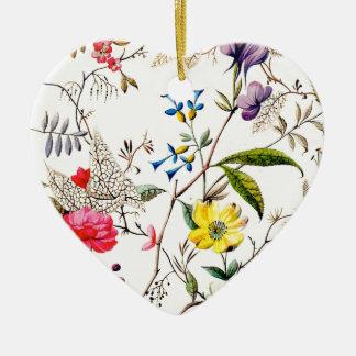 el kilburn florece modelos de la materia textil adorno navideño de cerámica en forma de corazón