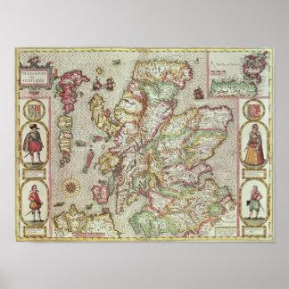 El Kingdome de Escocia, grabado por Jodocus Póster