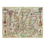 El Kingdome de Escocia, grabado por Jodocus Tarjeta Postal