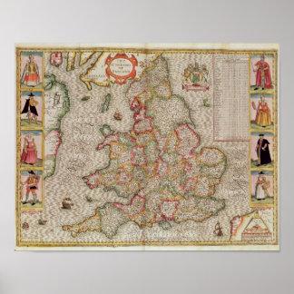 El Kingdome de Inglaterra, grabado por Jodocus Póster