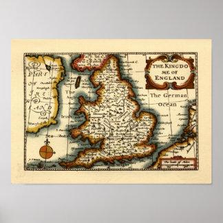 El Kingdome del mapa histórico de Inglaterra Póster
