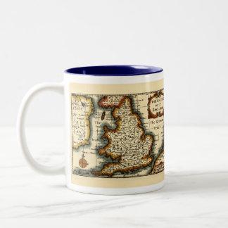 El Kingdome del mapa histórico de Inglaterra Taza Dos Tonos