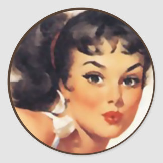 El kitsch Bitsch: Retratos Pin-Para arriba Pegatina Redonda