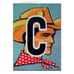 El kitsch retro C del vintage está para el bloque  Tarjetón