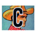 El kitsch retro C del vintage está para el bloque  Tarjeta Postal