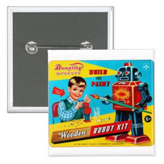 El kitsch retro del vintage embroma el equipo de m pin cuadrada 5 cm
