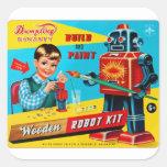 El kitsch retro del vintage embroma el equipo de pegatina cuadrada