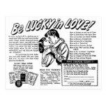 El kitsch retro del vintage sea afortunado en postales