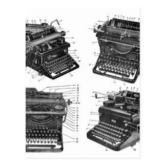 El kitsch retro del vintage trabaja a máquina las postales