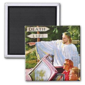 El kitsch retro Jesús del vintage señala la manera Imán Cuadrado