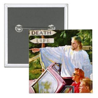 El kitsch retro Jesús del vintage señala la manera Pin Cuadrado