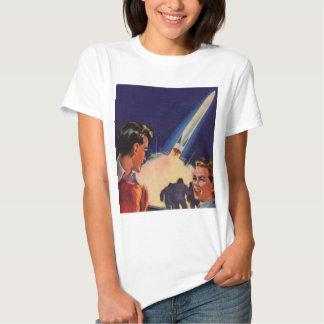 El kitsch retro Sci Fi Rocket del vintage arruina Remera