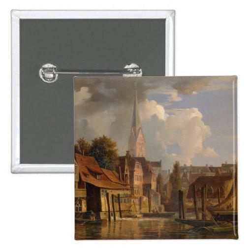 El Kleine Alster en 1842, 1842 Pin Cuadrada 5 Cm