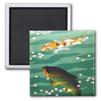 El koi afortunado oriental fresco pesca arte esmer imán cuadrado