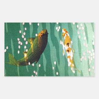 El koi afortunado oriental fresco pesca arte esmer pegatina