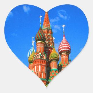 el Kremlin ocho cúpulas combinó capillas Pegatina En Forma De Corazón