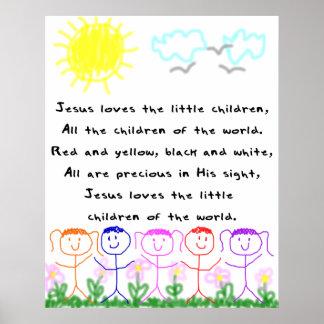 El KRW Jesús ama a los pequeños niños Póster