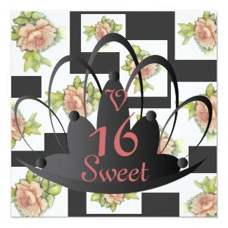 """El """"La compite"""" el dulce subió En dieciséis Invit. Invitación 5.25"""" X 5.25"""""""