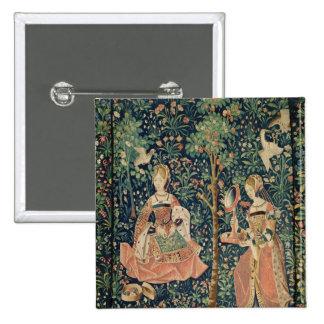 El La compite Seigneuriale: Bordado, c.1500 Pin Cuadrado