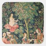 El La compite Seigneuriale: Escena Galante, c.1500 Pegatina Cuadrada