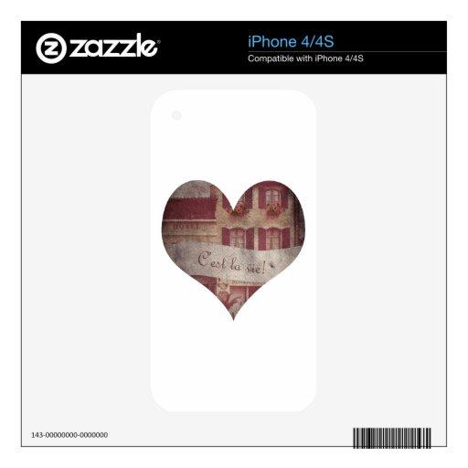 """El """"la de C'est compite!"""" Corazón Skins Para eliPhone 4"""