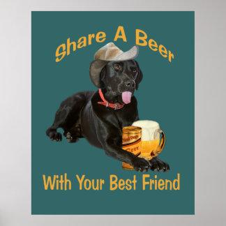 El laboratorio negro comparte una cerveza póster