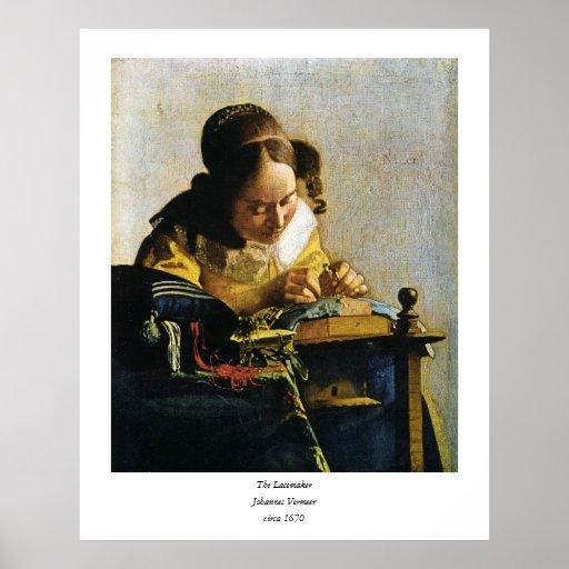 El Lacemaker de Juan Vermeer (circa 1670) Póster