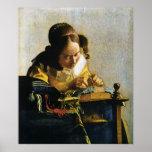 El Lacemaker de Juan Vermeer (circa 1670) Posters