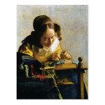 El Lacemaker de Juan Vermeer (circa 1670) Tarjeta Postal