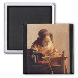 El Lacemaker de Juan Vermeer Imán Para Frigorífico