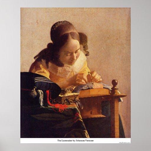 El Lacemaker de Juan Vermeer Poster