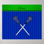 El lacrosse conocido personalizado pega rayas azul posters
