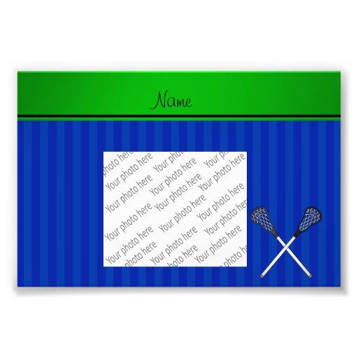 El lacrosse conocido personalizado pega rayas azul impresiones fotograficas